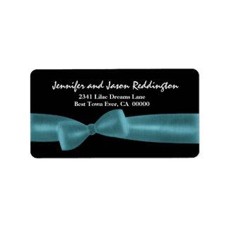 Romantic Aqua Bow on Black Background Address Label