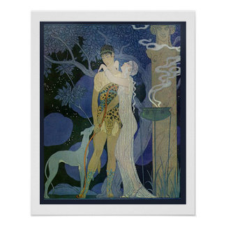 Romantic Art Noveau Couple With Greyhound Poster