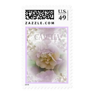 Romantic artistic Camelia flower text stamp