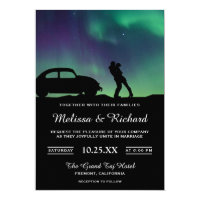 Romantic Aurora Galaxy Couple Wedding Invitation