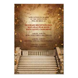 Romantic Autumn Leaves and Columns Reception Card
