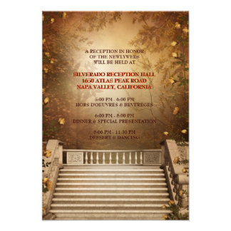 Romantic Autumn Leaves and Columns Reception Card Personalized Invitations