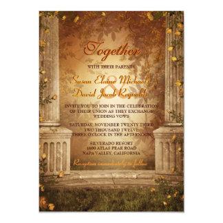 Romantic Autumn Leaves and Columns Wedding Invite