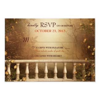 Romantic Autumn Leaves and Columns Wedding RSVP Card