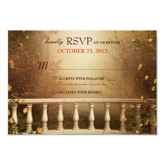 Romantic Autumn Leaves and Columns Wedding RSVP Custom Announcements