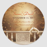 Romantic Autumn Leaves and Columns Wedding Seal Round Sticker