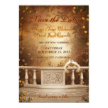 Romantic Autumn Leaves and Roses Save the Date Card
