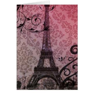romantic autumn pink damask Paris Eiffel Tower Card