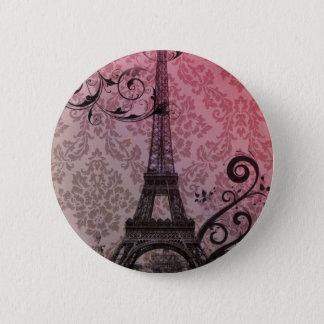 romantic autumn pink damask Paris Eiffel Tower Pinback Button