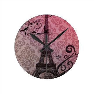 romantic autumn pink damask Paris Eiffel Tower Round Clock