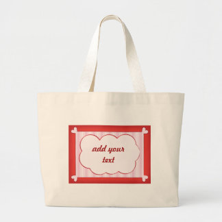 Romantic background with red hearts and pink frame large tote bag