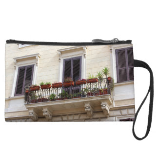 Romantic Balcony in the city of Rome Suede Wristlet