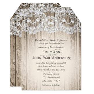 Romantic Barn Wood and Lace Elegant Wedding Card