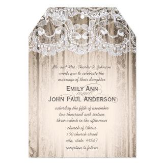 "Romantic Barn Wood and Lace Elegant Wedding 5"" X 7"" Invitation Card"