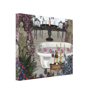 Romantic Bathroom Wall Wrapped Canvas Canvas Prints