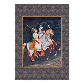Romantic Baz and Rani Indian Painting Poster