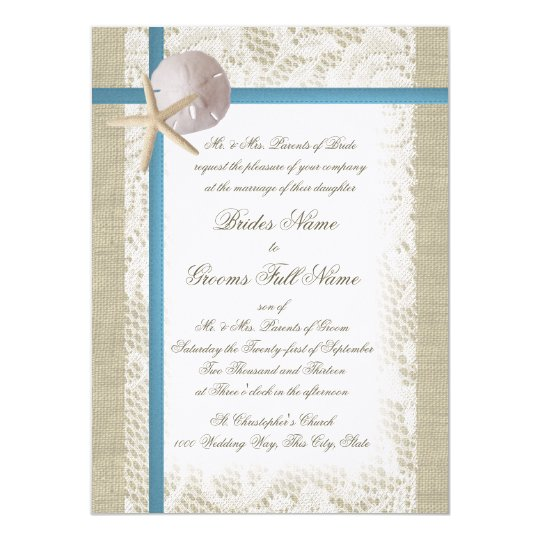 Romantic Beach and Lace Blue Wedding Card