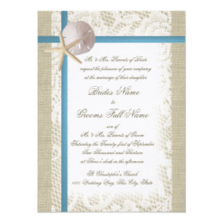 Romantic Beach and Lace Blue Wedding 5.5x7.5 Paper Invitation Card