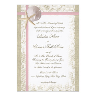 Romantic Beach and Lace Pink Wedding 5x7 Paper Invitation Card