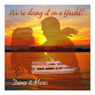 Romantic Beach Couple Nautical Yacht Wedding Card