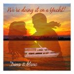 Romantic Beach Couple Nautical Yacht Wedding Invites