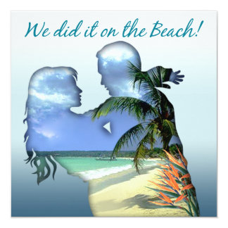 Romantic Beach Couple Wedding Reception Card