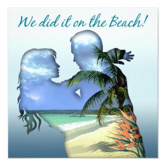Romantic Beach Couple Wedding Reception Invitation