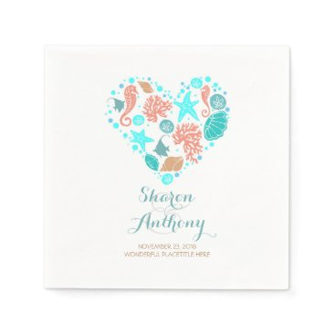 Beach Themed Romantic Beach Heart White Wedding Paper Napkins