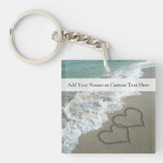 Romantic Beach Hearts Acrylic Keychains