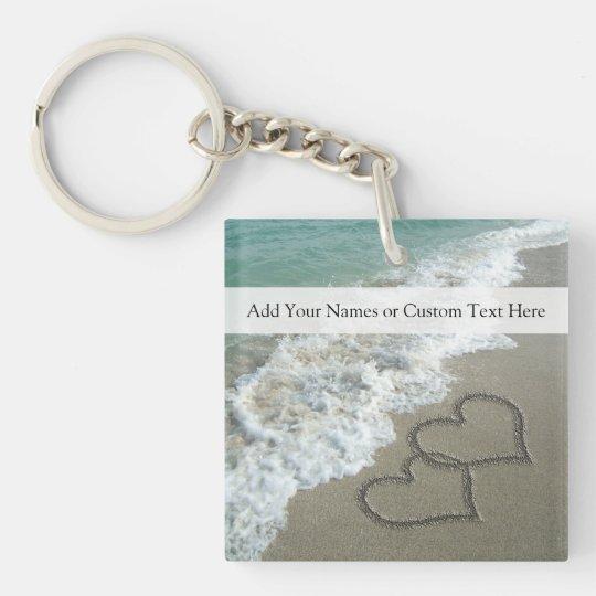 Romantic Beach Hearts Keychain