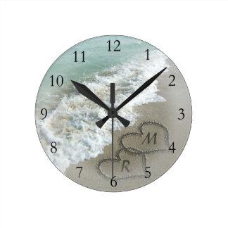 Romantic Beach Hearts Round Clock