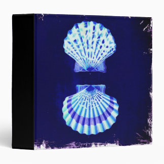romantic beach  ocean blue vintage sea shells binder