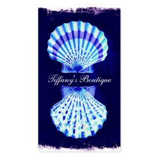 romantic beach  ocean blue vintage sea shells business card template