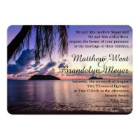 Romantic Beach Purple Sunset Wedding Invitation