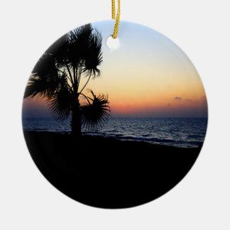 Romantic beach scene christmas tree ornament