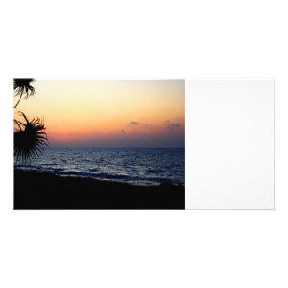 Romantic beach scene. picture card