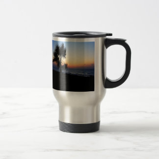 Romantic beach scene. travel mug