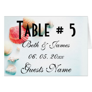 Romantic Beach Seashells Wedding Table & Menu Card