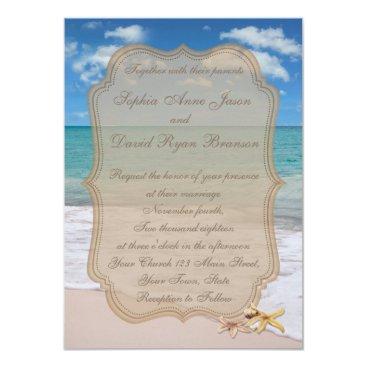 Beach Themed Romantic Beach Starfishes Wedding Invitation