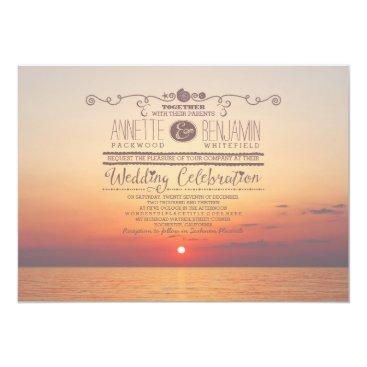 Beach Themed romantic beach sunset sea wedding invitation