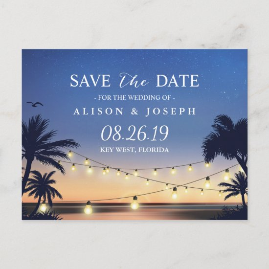 Romantic Beach Sunset String Lights Save the Date Announcement Postcard
