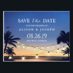 "Romantic Beach Sunset String Lights Save the Date Postcard<br><div class=""desc"">================= ABOUT THIS DESIGN ================= Romantic Beach Sunset String Lights Save the Date Postcard. (1) For further customization, please click the &quot;Customize&quot; button and use our design tool to modify this template. All text style, colors, sizes can be modified to fit your needs. (2) If you need help or matching...</div>"