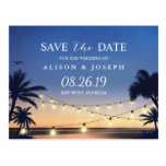 Romantic Beach Sunset String Lights Save the Date Postcard<br><div class='desc'>================= ABOUT THIS DESIGN ================= Romantic Beach Sunset String Lights Save the Date Postcard. (1) For further customization, please click the &quot;Customize&quot; button and use our design tool to modify this template. All text style, colors, sizes can be modified to fit your needs. (2) If you need help or matching...</div>