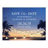 Romantic Beach Sunset String Lights Save the Date Postcard