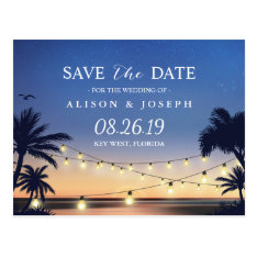Romantic Beach Sunset String Lights Save The Date Postcard at Zazzle