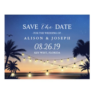 CardHunter Romantic Beach Sunset String Lights Save the Date Postcard