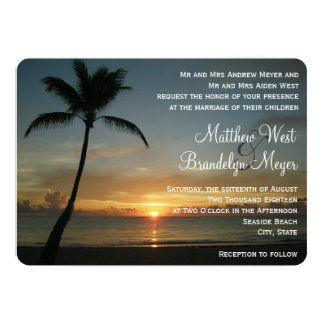 Romantic Beach Sunset Wedding Invitation