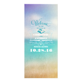 romantic beach wedding programs - ombre blue sea