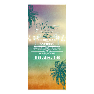 romantic beach wedding programs -sunset lights sea