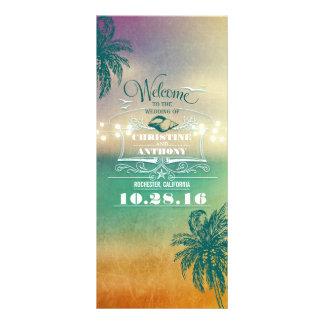 romantic beach wedding programs -sunset lights sea rack card
